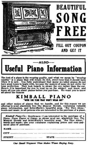 Kimball ad from Etude Magazine ca. 1920